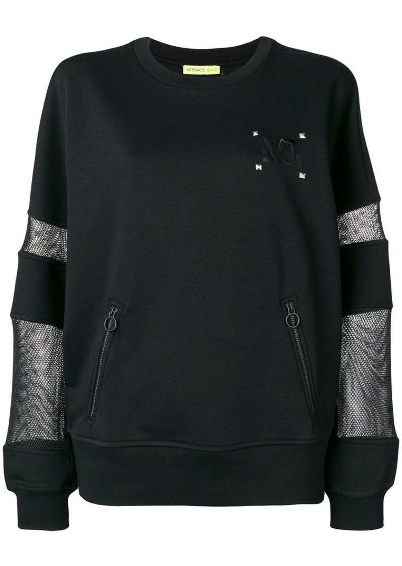Versace mesh-panel long sleeve sweatshirt