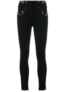 Versace metallic buckle trousers