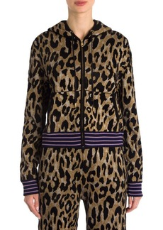 Versace Metallic Leopard Zip-Up Hoodie