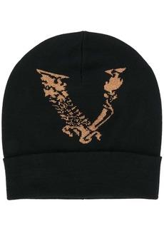 Versace metallic logo knit beanie hat