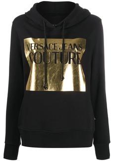 Versace metallic logo print drawstring hoodie