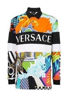 Versace Miami print mitchel long-sleeve polo