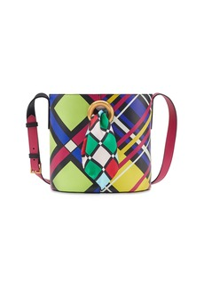 Versace Mix Checked Stamped Leather Bucket Bag with Scarf