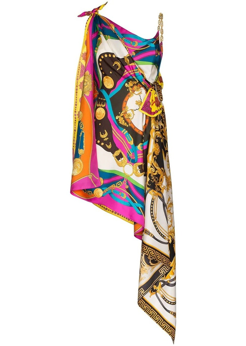 Versace mixed print draped asymmetric dress