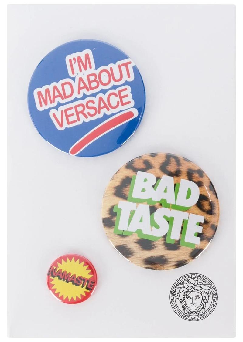 Versace mixed print logo pins