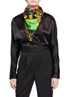 Versace Mixed-Print Silk Scarf