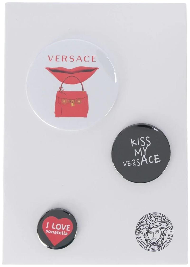Versace mixed printed logo pins