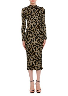 Versace Mock-Neck Long-Sleeve Metallic Leopard-Intarsia Mid-Calf Dress
