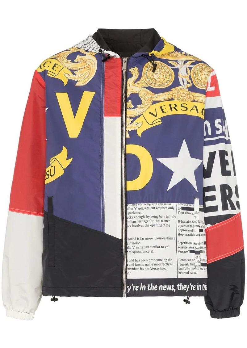 Versace multi print zip-up hooded jacket