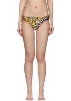 Versace Multicolor Barocco Animal Bikini Bottom