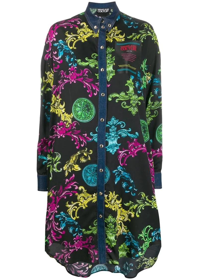Versace multicolor Barocco print shirt dress