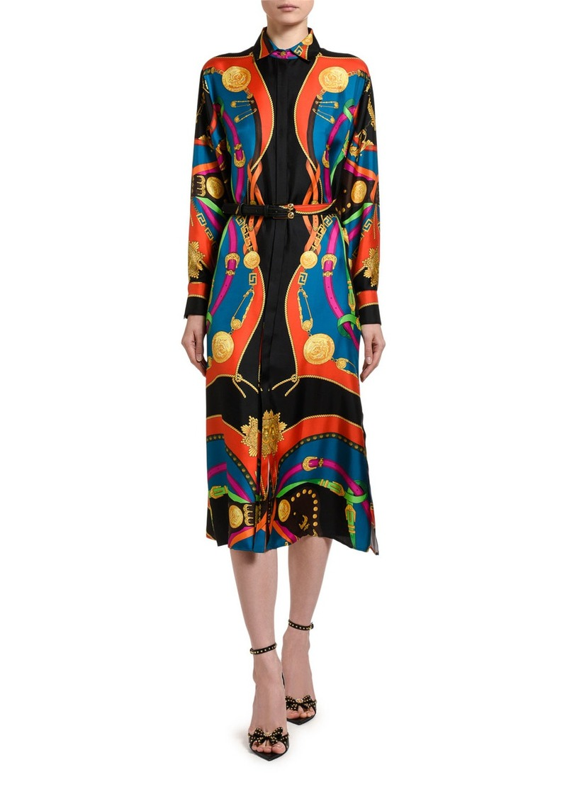 Versace Multicolor Scarf Shirtdress
