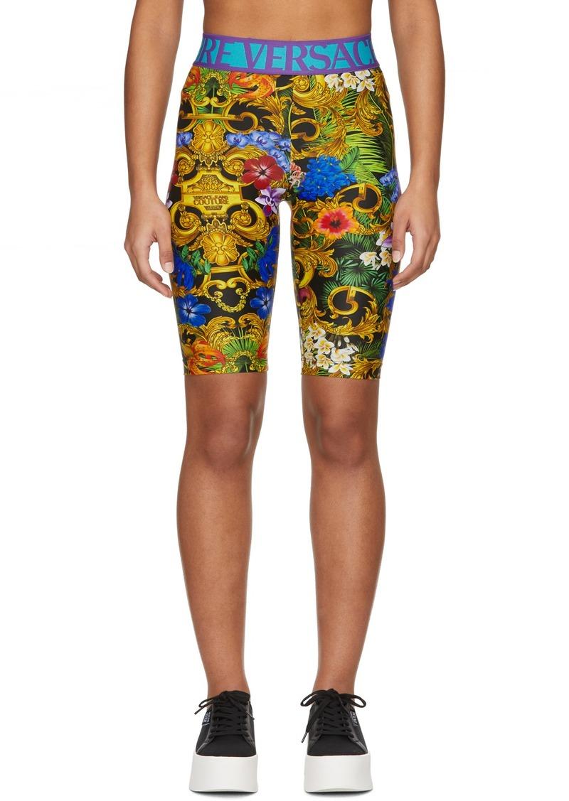 Versace Multicolor Tropical Barocco Bike Shorts