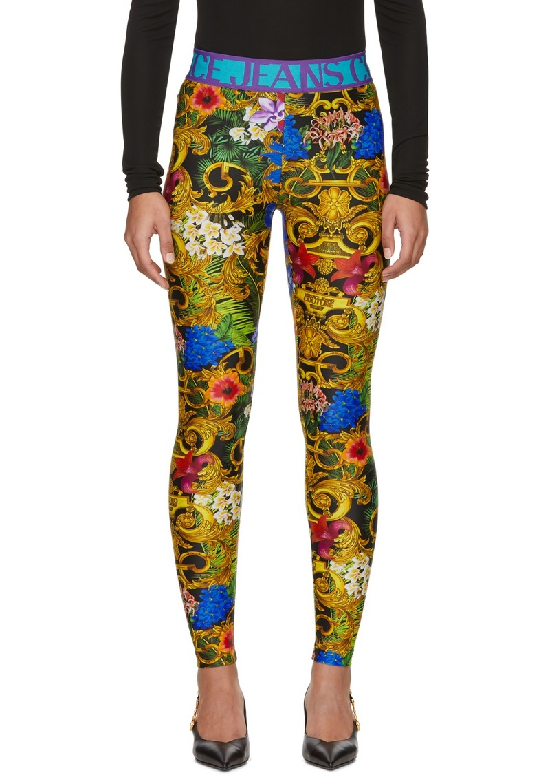 Versace Multicolor Tropical Barocco Leggings
