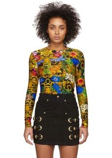 Versace Multicolor Tropical Barocco Print Bodysuit