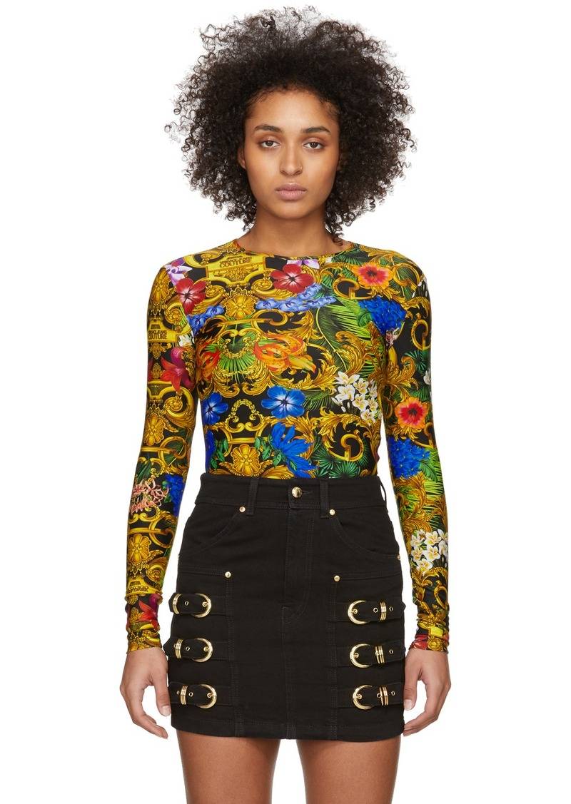 Versace Multicolor Tropical Barocco Print Bodysuit