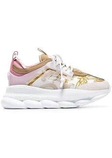 Versace multicoloured Chain Reaction Baroque leather and fabric sneakers