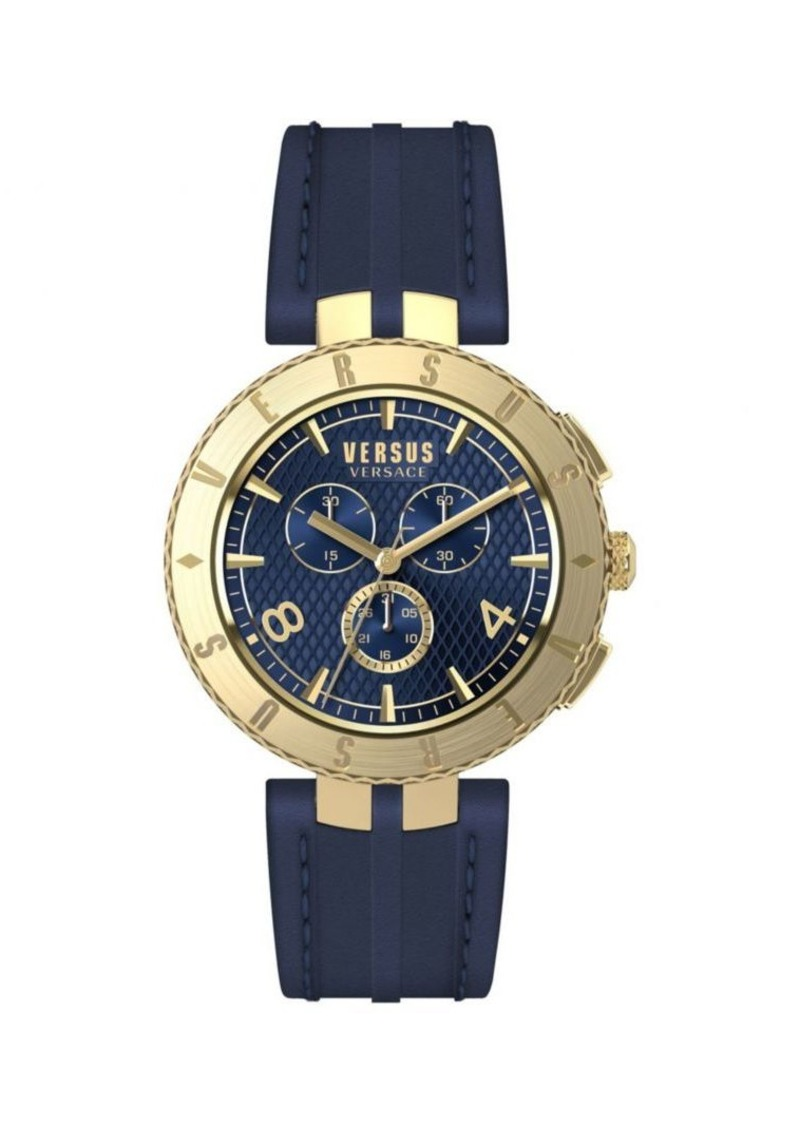 Versace New Logo IP Stainless Steel & Leather-Strap Chronograph Watch
