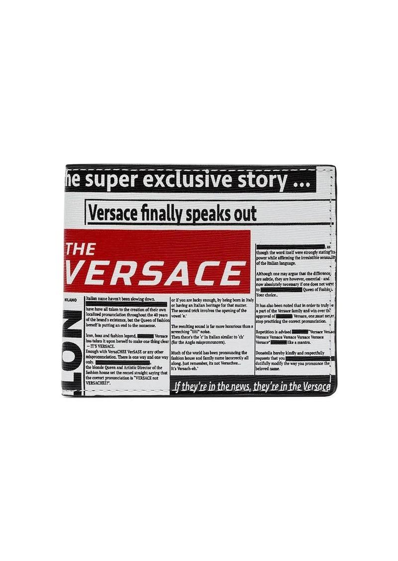 Versace Newspaper print bi-fold wallet