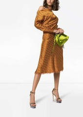 Versace off-shoulder jacquard midi dress