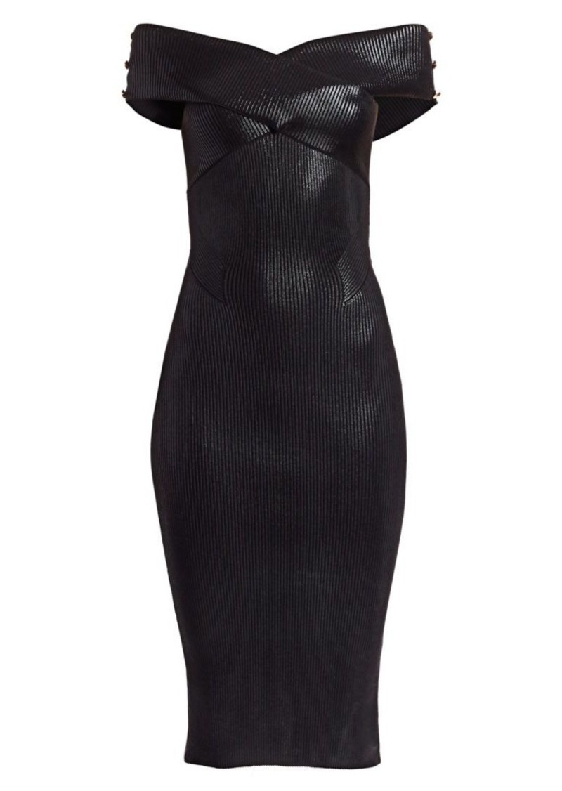 Versace Off-The-Shoulder Rib-Knit Dress
