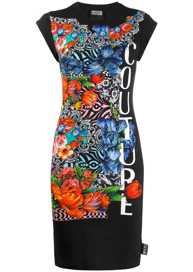 Versace Optical Flowers-print mini dress