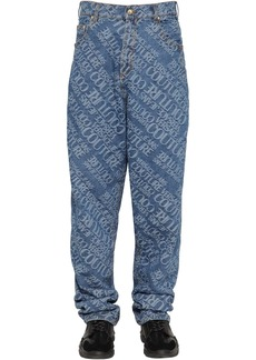 Versace Oversize Jacquard Logo Denim Jeans