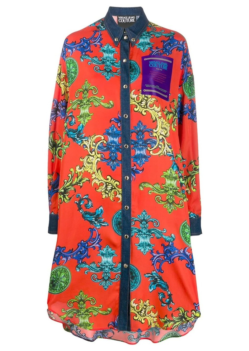 Versace oversized Barocco print shirt dress