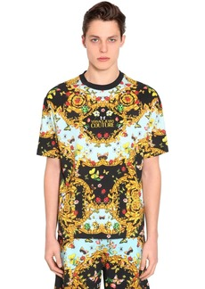 Versace Oversized Printed Cotton Jersey T-shirt