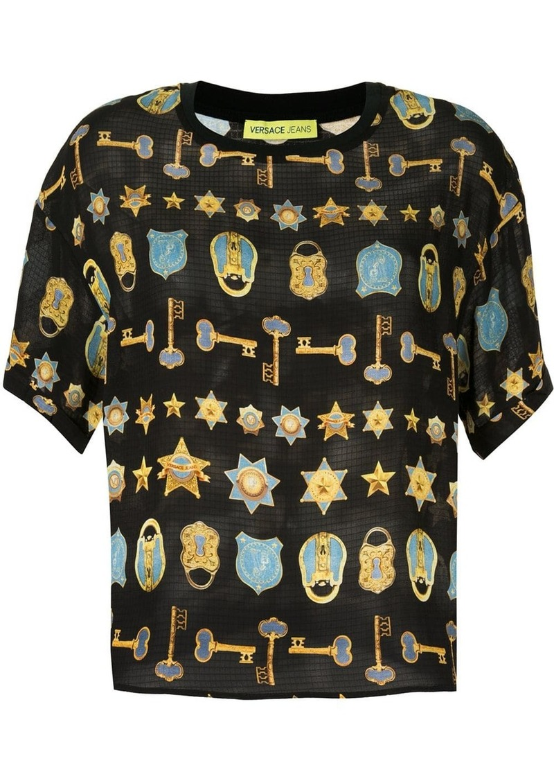 Versace padlock and key print T-shirt