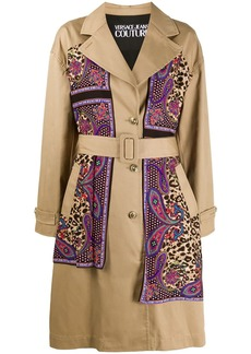 Versace paisley leopard accent trench coat