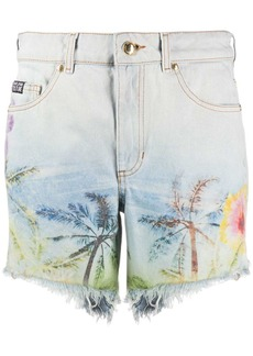 Versace palm-print denim shorts