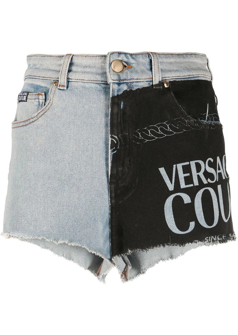Versace panelled denim shorts
