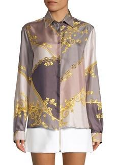 Versace Pastel Eyeshadow Print Silk Shirt