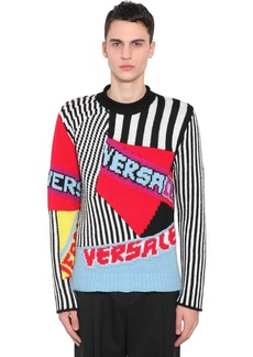 Versace Patchwork Wool Knit Jacquard Sweater