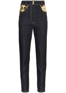 Versace pattern printed high-waisted skinny jeans