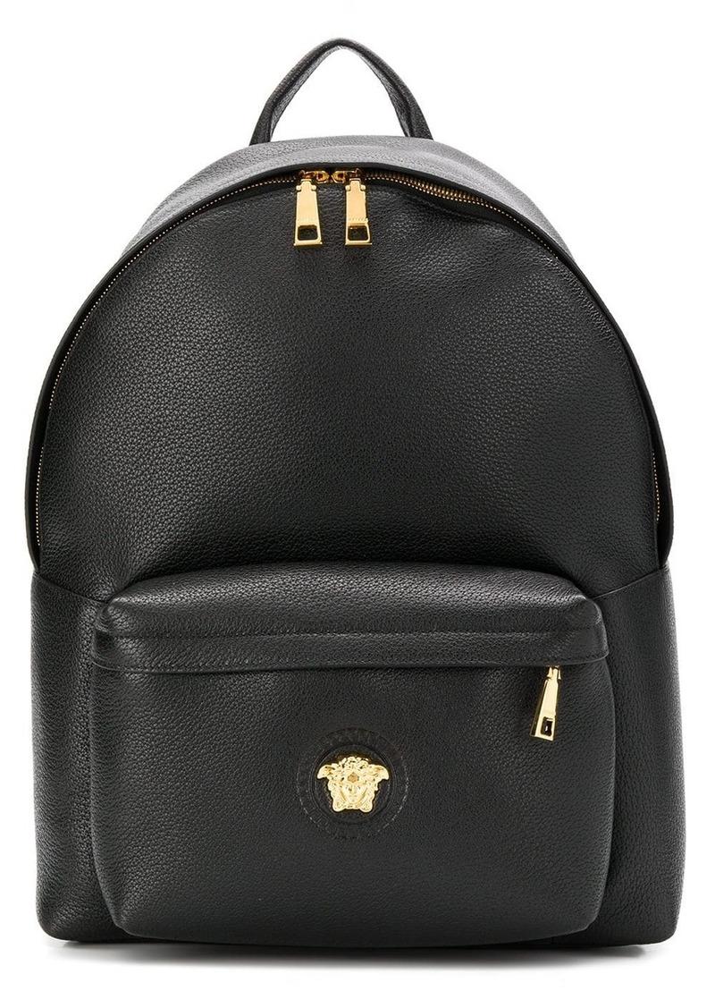 Versace pebbled texture logo backpack