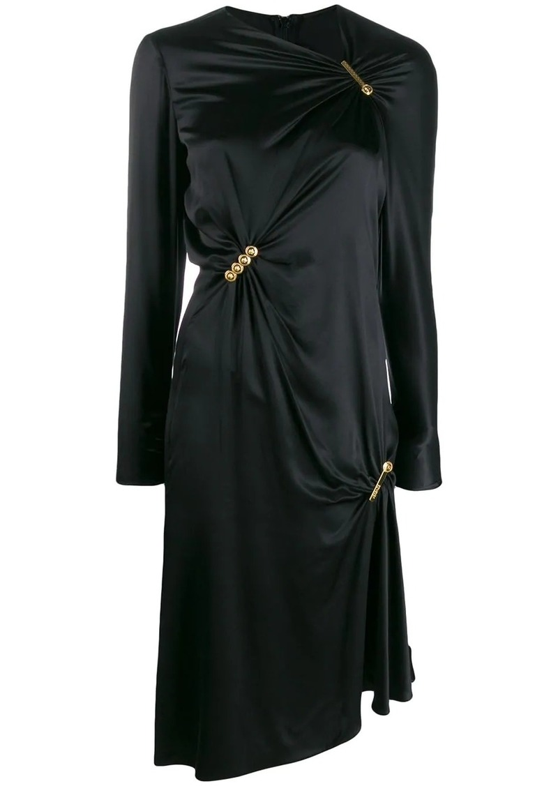 Versace pin clip draped midi dress