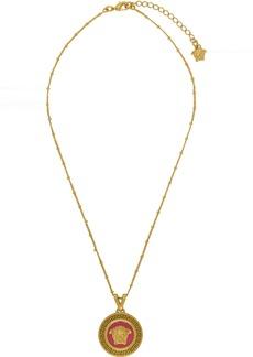 Versace Pink & Gold Medusa Pendant Necklace