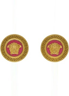 Versace Pink & Gold Small Medusa Coin Earrings