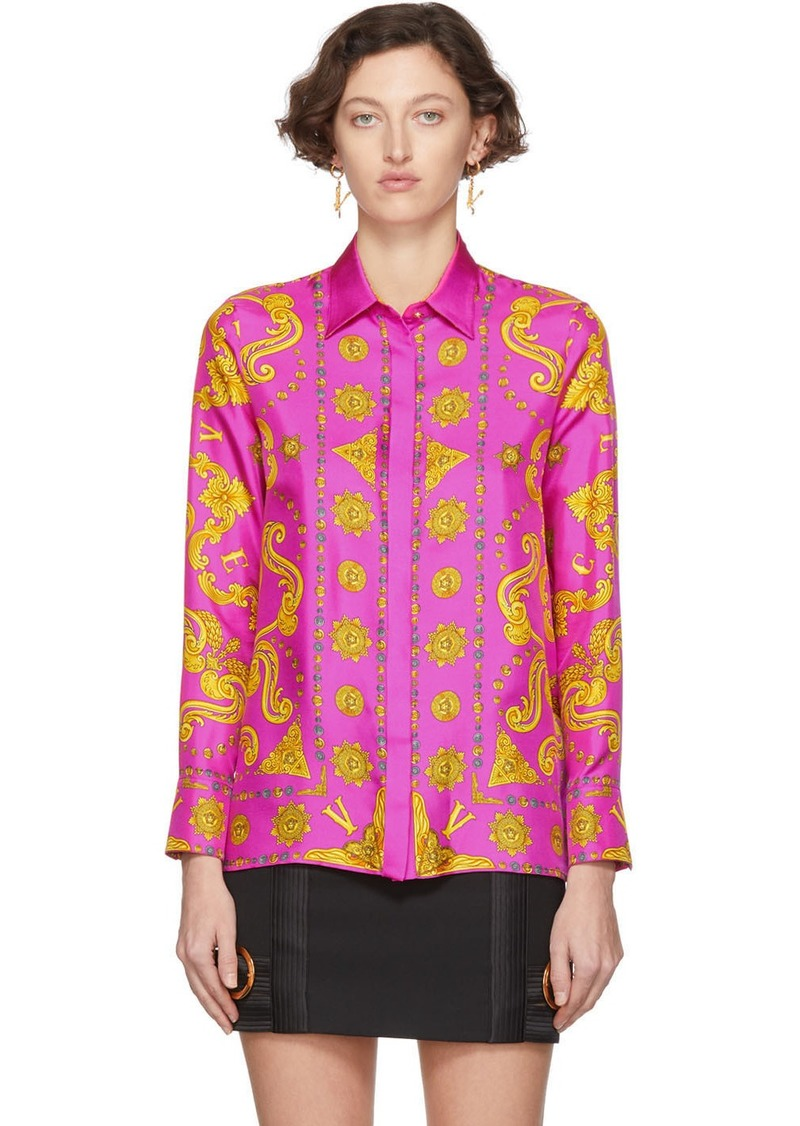 Versace Pink Baroque Western Shirt