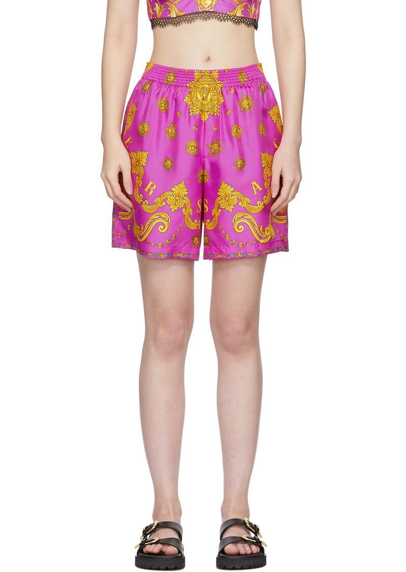 Versace Pink Silk Barocco Star Shorts