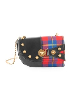 Versace Plaid & Leather Studded Shoulder Bag