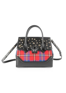 Versace Plaid Studded Leather Top Handle Bag