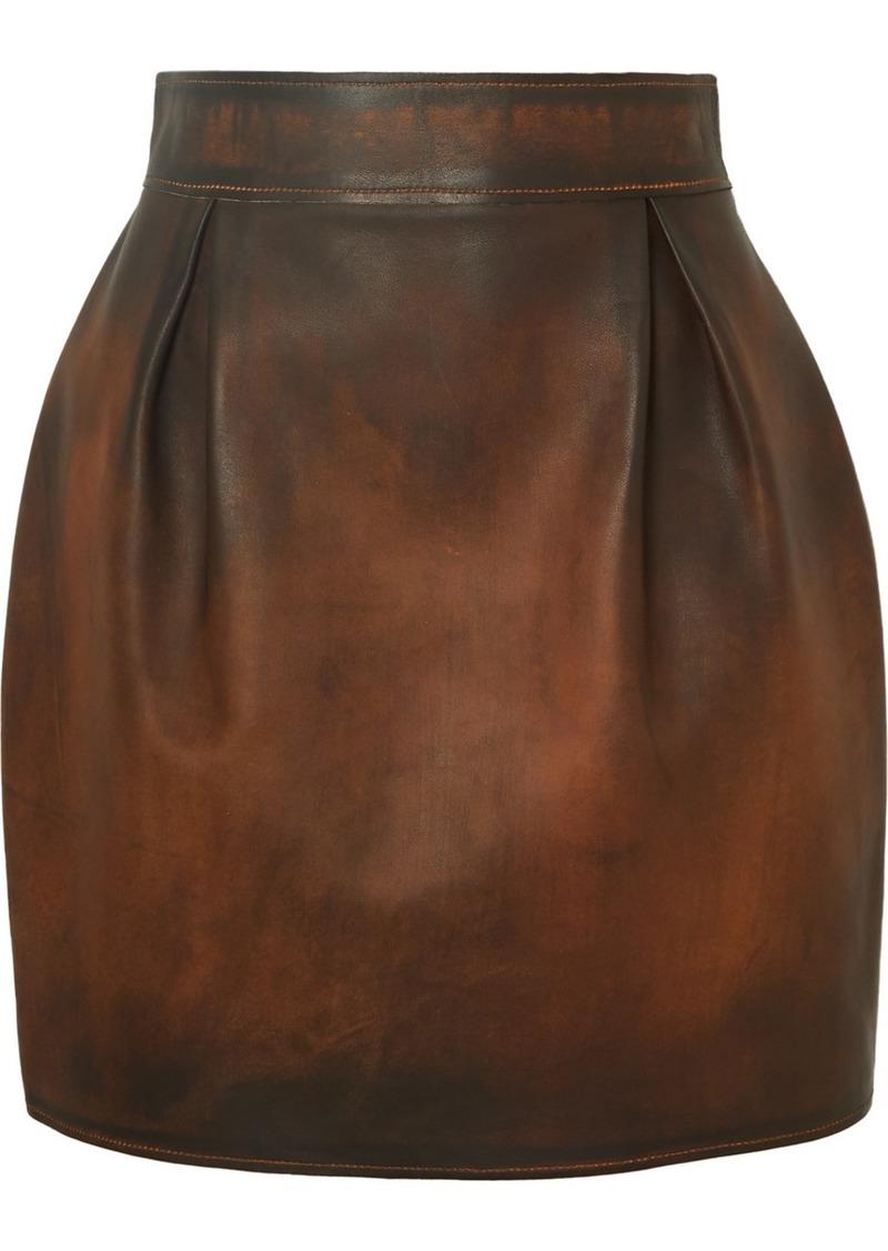Versace Pleated Antiqued-leather Mini Skirt