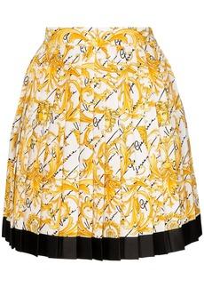 Versace pleated baroque-print silk skirt