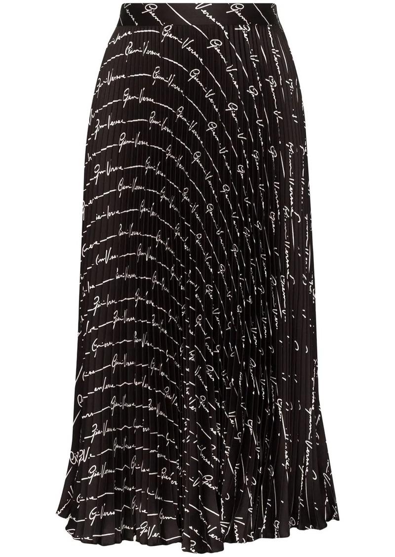 Versace pleated logo signature skirt