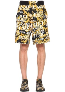 Versace Print Baroque Logo Cotton Jersey Shorts
