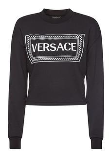 Versace Printed Cotton Cropped Sweatshirt