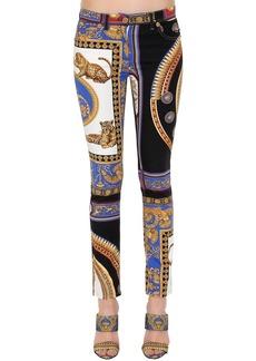 Versace Printed Cotton Denim Jeans